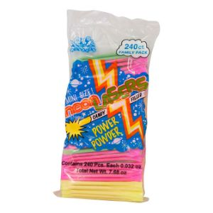 Neon Lasers Mini Straws Power Powder Candy Bag (240 pcs)