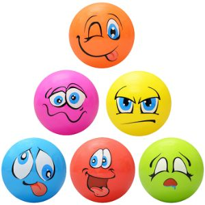 Inflatable Funny Face Vinyl Balls, 18in