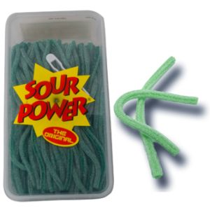 Sour Power Straws Green Apple Display Tub (200 pcs)
