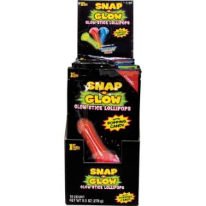 Snap-N-Glow Lollipop with Popping Candy Display Box (18 pcs)