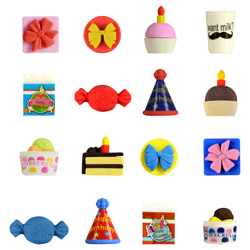 Birthday Party Erasers 1.1in Capsules