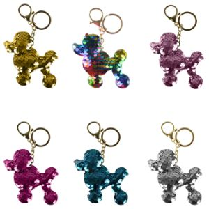 Poodle Sequin Keychain 4in (12 pcs)