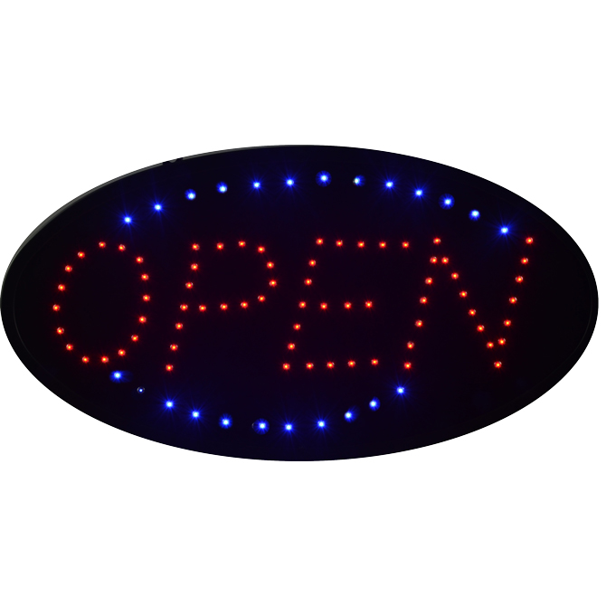 Oval Blue And Orange Open Neon Signage Turned On: LED Sign: Oval Shape Open (Red & Blue)
