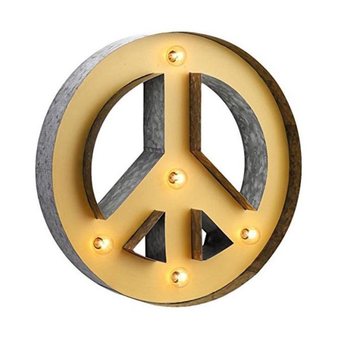 Light Up Metal Peace Sign