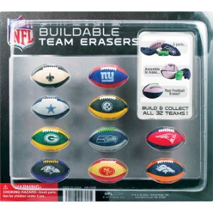 NFL Buildable Puzzle Erasers Blister Display