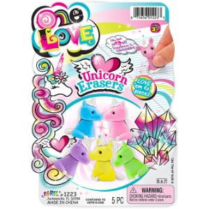 Unicorn Eraser 5pk 1.5''