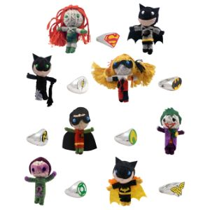 Batman String Dolls and DC Logo Toys in 2'' Capsules