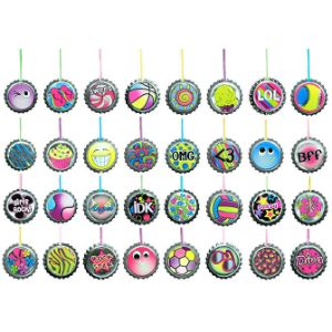 Bottle Cap Necklaces in Bulk Bag (100 pcs)