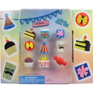 Birthday Party Eraser Blister Display
