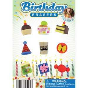 Birthday Party Erasers Display Card