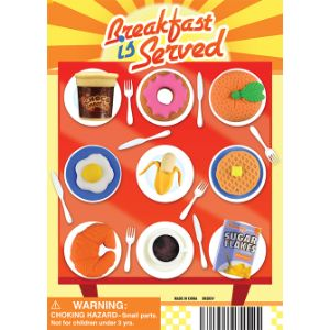 Breakfast is Served Erasers Display Card -  5 inch x 7 inch