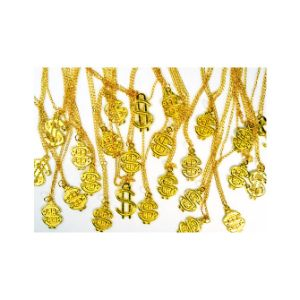 Gold-Toned Dollar Sign Necklaces in Bulk Bag (100 pcs)