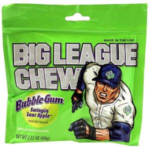 Big League Chew Sour Apple Bubble Gum Display Box (12 pcs)
