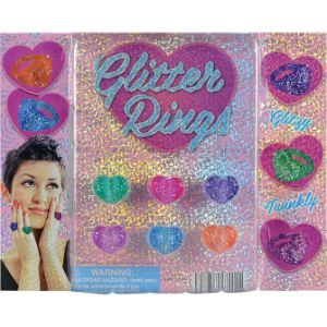 Glitter Heart Rings Blister Display