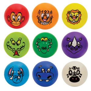 Inflatable Jungle Animal Face Balls, 5''