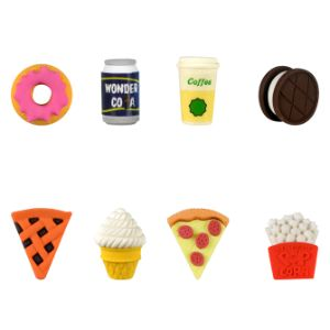 Snack Attack Fast Food Erasers in 1.1'' Capsules