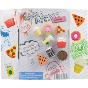 Snack Attack Erasers Blister Display