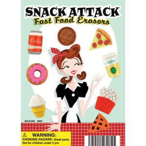 Snack Attack Fast Food Erasers Display Card